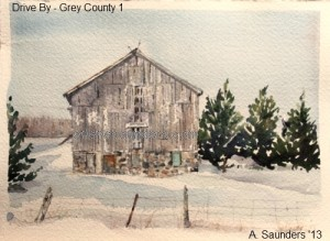 Drive By - 1 - first in the series of Grey County ON paintings - en route to Colpoys Bay.