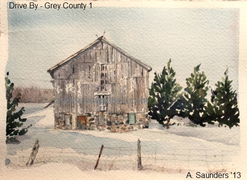 Drive By - 1 - first in the series of Grey County ON paintings - en route to Colpoys Bay.   SOLD