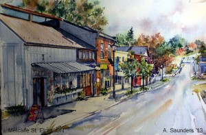 "Meltcalfe St. Elora - looking south to the Grand River.  Watercolour 7"" x 10 ""  $150"