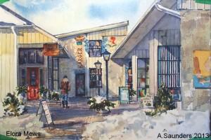 "Elora Mews -  2013 10"" x 7"" Watercolour  $150"
