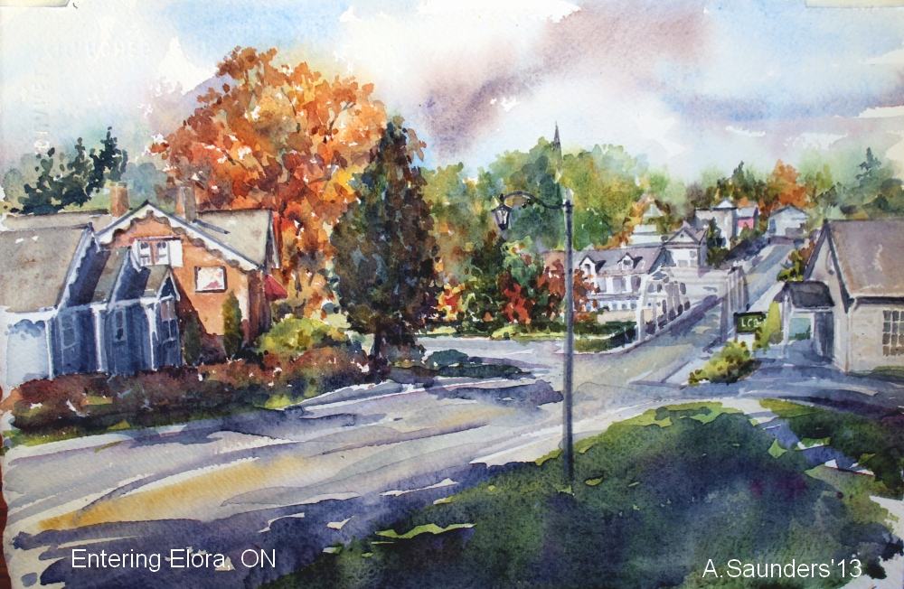 "Entering Elora, approaching the Grand - 10"" x 7""   $150"