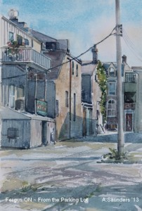 """Fergus ON, From the Parking Lot -  10"""" x 7"""" Watercolour $160"""