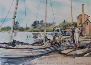 "Herring Fishery - Bronte ON ~ 1940's  10"" x 7""  Watercolour  unframed $160"