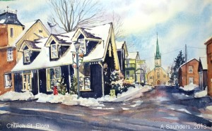 "Church St. Elora - 2013 10"" x 7"" Watercolour - $150"