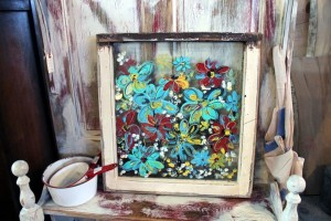 Acrylic on reclaimed window -